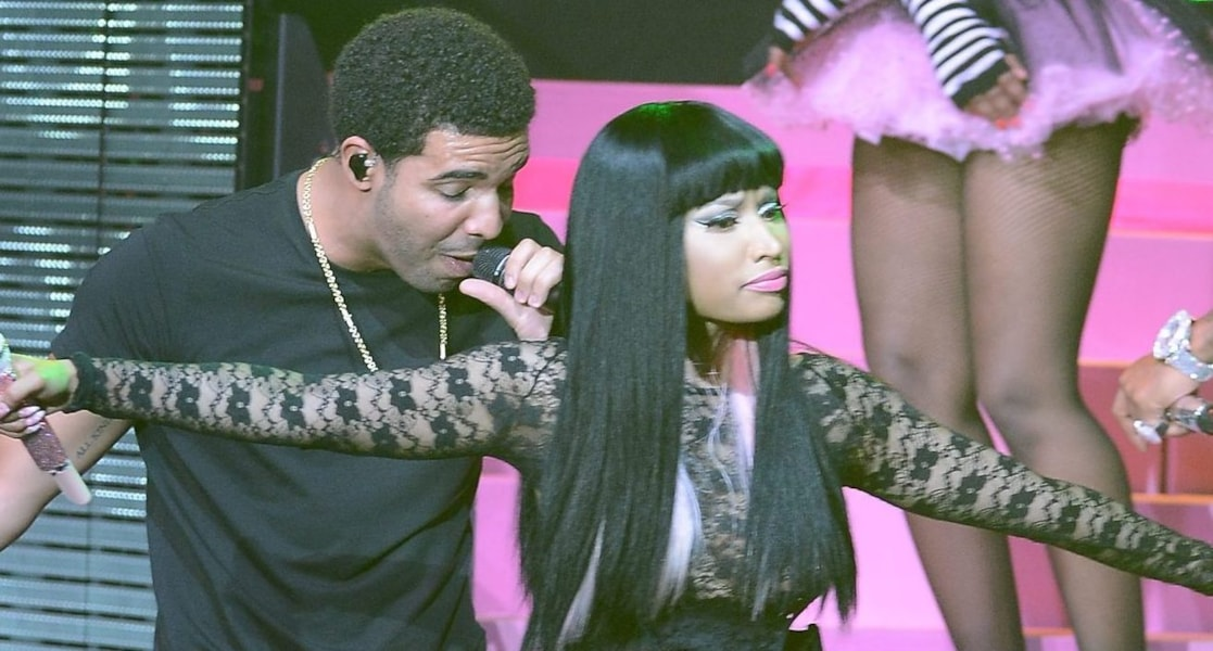 NEW YORK, NY - AUGUST 14:  Nicki Minaj and Drake perform at Pepsi Presents Nicki Minaj's Pink Friday Tour at Roseland on August 14, 2012 in New York City.  (Photo by Larry Busacca/Getty Images for Pepsi)