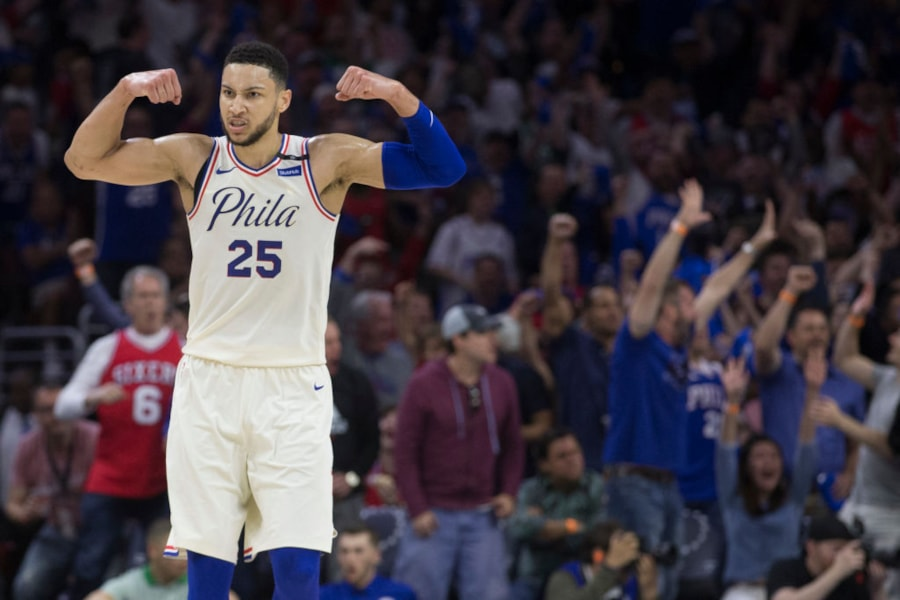 PHILADELPHIA, PA - MAY 5: Ben Simmons #25 of the Philadelphia 76ers flexes while the fans react to a dunk by Joel Embiid in the second quarter against the Boston Celtics during Game Three of the Eastern Conference Second Round of the 2018 NBA Playoff at Wells Fargo Center on May 5, 2018 in Philadelphia, Pennsylvania. NOTE TO USER: User expressly acknowledges and agrees that, by downloading and or using this photograph, User is consenting to the terms and conditions of the Getty Images License Agreement. (Photo by Mitchell Leff/Getty Images)