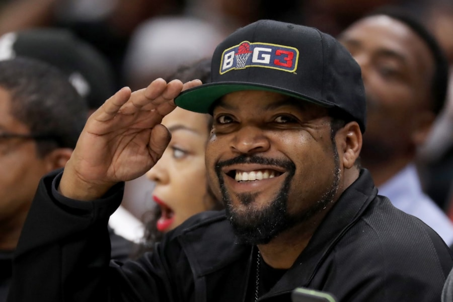 DETROIT, MI - JULY 13:  Ice Cube looks on during BIG3 - Week Four at Little Caesars Arena on July 13, 2018 in Detroit, Michigan.  (Photo by Gregory Shamus/Getty Images)