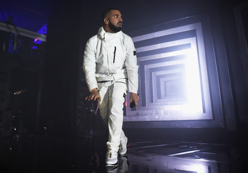 NEW YORK, NY - MAY 17:  Rapper Drake performs onstage during the 2017 Adult Swim Upfront Party at Terminal 5 on May 17, 2017 in New York City. (Photo by Dimitrios Kambouris/Getty Images for Adult Swim)