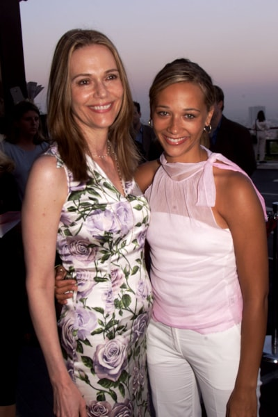 Peggy Lipton (left), mother of Rashid Jones (right) of the new FOX series 'The Street' arrive at the FOX 2000 summer press tour party at Yamashiro Restaurant in Hollywood on Friday night, July 21, 2000. Photo credit: Kevin Winter/ImageDirect
