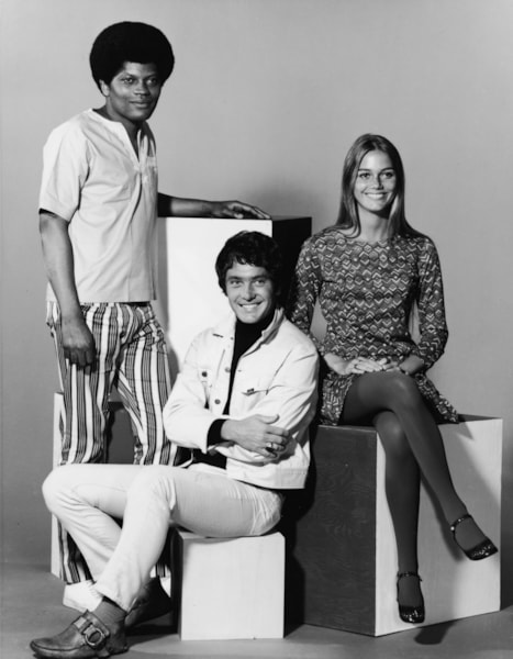 Promotional studio portrait of actors Clarence Williams III (L), Michael Cole, Peggy Lipton for the television series, 'The Mod Squad,' c. 1968. (Photo by ABC/Hulton Archive/Courtesy of Getty Images)